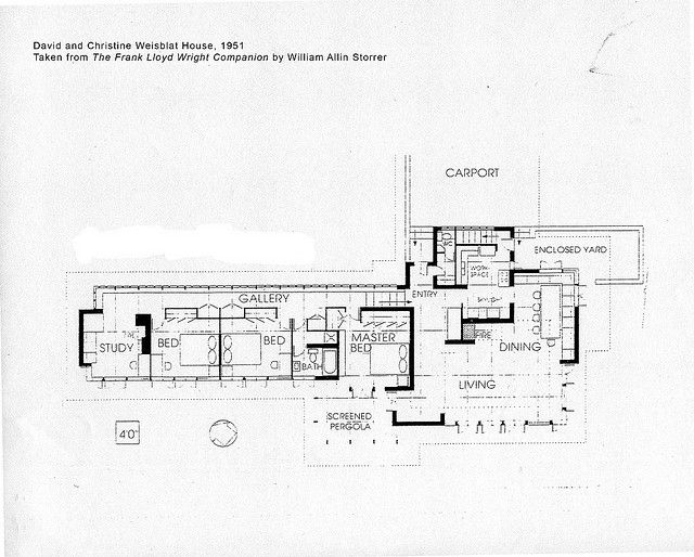 David and christine weisblat house plan 1951 frank Frank lloyd wright floor plan