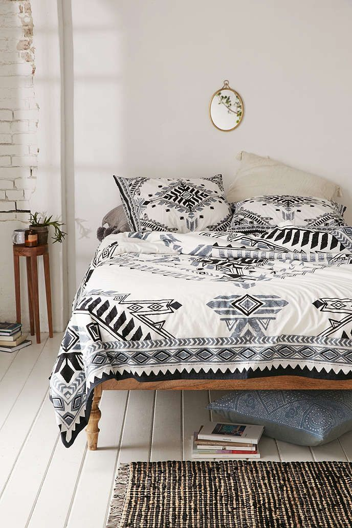 Black, white, grey Bohemian, tribal bedding 4040 Locust Quilla Duvet Cover - Urban Outfitters