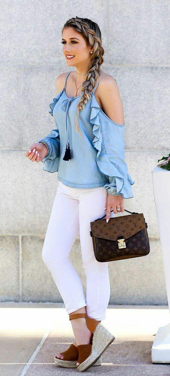 Street Fashion , ruffle top skinny jeans , heel sandal , handbag