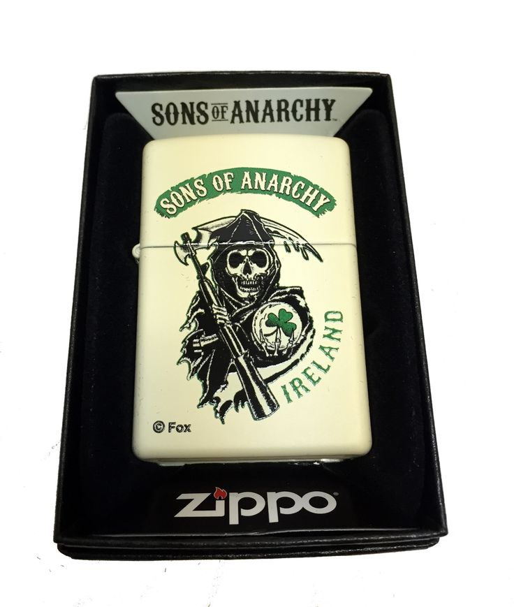 Zippo Custom Lighter - Sons of Anarchy Ireland Grim Reaper - Regular Cream Matte