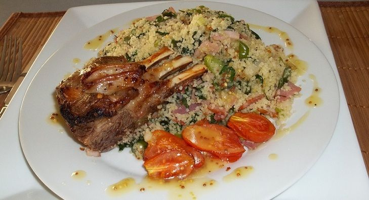 Tasty lamb over a warm couscous salad.