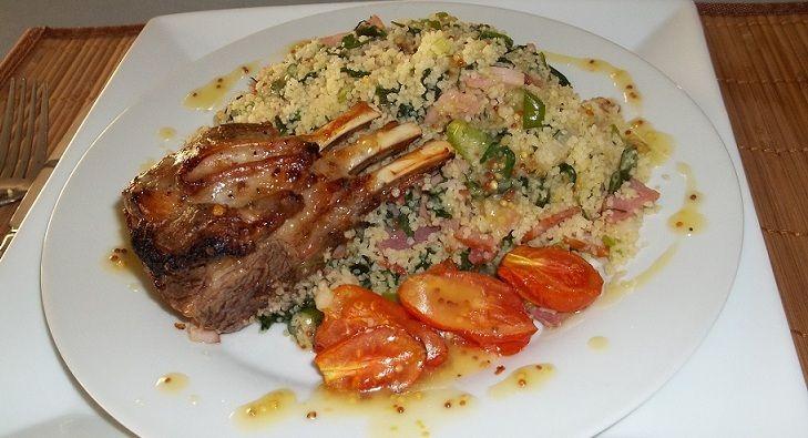 Tasty lamb over a warm couscous salad.