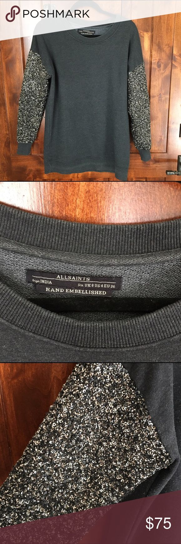 ALLSAINTS Hand Embellished sweater - 4 Made in India. Slight wear. Great condition. Beautiful sequin sweatshirt!!!!! All Saints Tops Sweatshirts & Hoodies