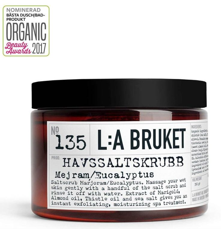 "L:A Bruket Sea salt scrub nominated best shower/bath product at Natural Organic Cosmetics Sweden ""Organic Beauty Awards 2017"". www.LABruket-USA.com"