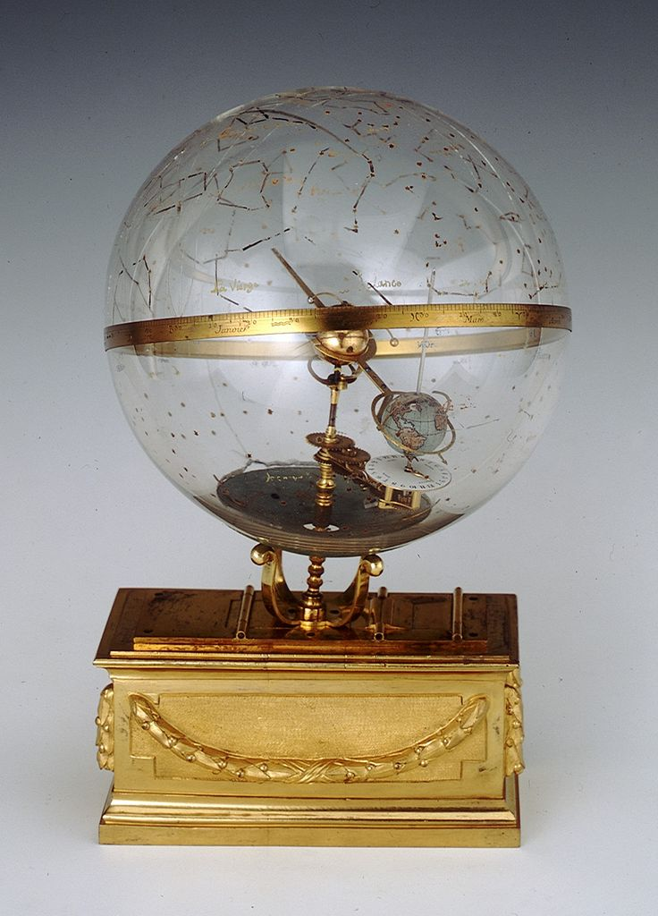 Celestial planetarium -A glass celestial globe containing a geared tellurium, consisting of the Sun, Mercury, Venus and Earth, mounted on a decorative base, which once contained the clockwork mechanism.