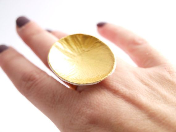 Polymer Clay Ring Gold Disk Handmade Polymer Clay Ring by bibigo
