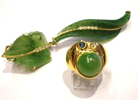 """The """" Green Leaf """" Brooch   A real Leaf realized in Unique Piece in Parure with a Ring.  The main stone is the Green Jade, Diamonds and Manifacturing.  Yellow Gold 18 kt   4900$  Available only on  Www.bangslove.com"""