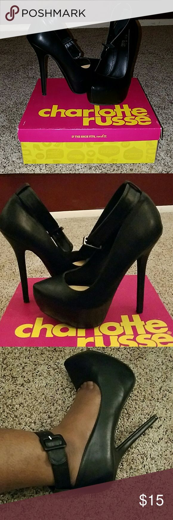 Black Charlotte Russe Heels Slightly worn, a couple scuffs (but very hard to see), pad in them for more comfort on the ball of your feet. Charlotte Russe Shoes Heels