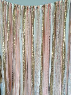Pfirsich Rosa & Gold Sparkle Pailletten Stoff von ohMYcharley