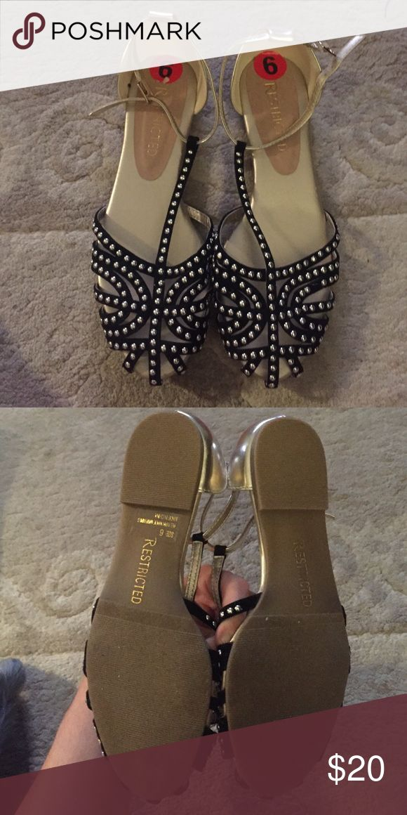 Restricted Gold Black Studded Flat Sandals Size 6 Restricted Gold Black Studded Flat Sandals Size 6 Restricted Shoes Flats & Loafers