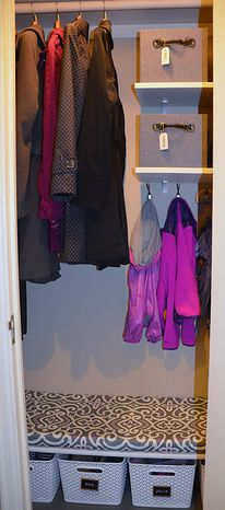 Neat Little Nest: Organizing a Tiny Coat Closet #organize #closet #mudroom @Erica Cerulo White  this might help for your new closet!