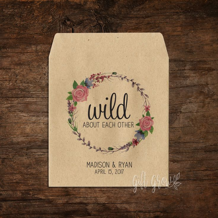 Floral Rose Wreath Wedding Seed Packets