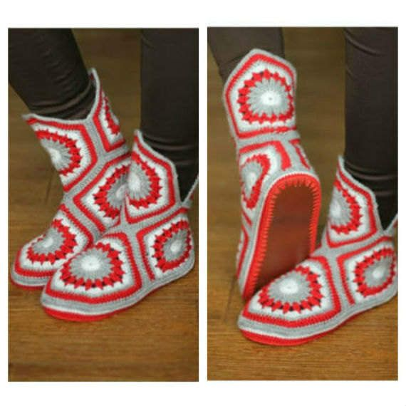 red slippers boots crochet boots women adult slippers crochet