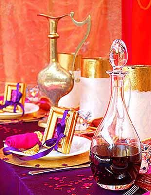 Arabian Nights theme party table decorations