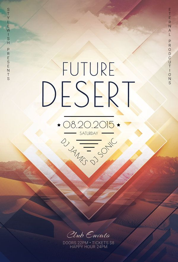Future Desert Flyer by styleWish (Buy PSD file - $9) #design #poster #graphic