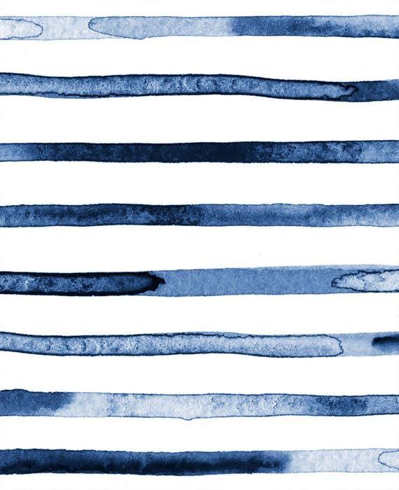 Watercolor Stripes Blue Peel Stick Fabric Wallpaper Etsy Striped Wallpaper Fabric Wallpaper Paintable Wallpaper