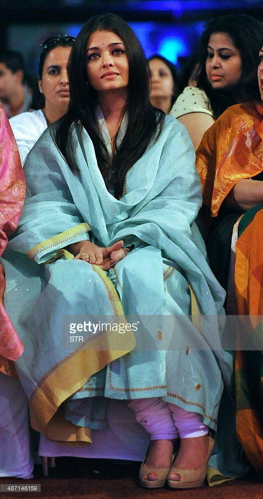 Indian Bollywood film actress Aishwarya Rai Bachchan attends the commemoration of the third death anniversary of Indian guru and spiritual leader Bhagawan Sri Sathya Sai Baba in Mumbai on April 27, 2014.