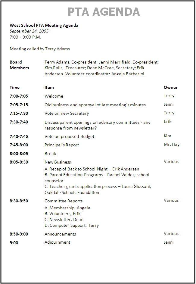 Best 25+ Meeting agenda template ideas on Pinterest Effective - example of agenda of meeting