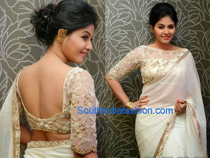 "Actress Anjali sported off white shimmer crushed chiffon plain saree with gold border followed by off white brocade border, teamed up with elbow length sleeves boat neck designer blouse embellished with gold embroidery at ""Geetanjali"" movie first look launch."