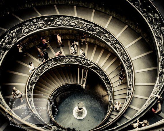 Spiral Staircase Photograph Rome Italy Photo Architecture