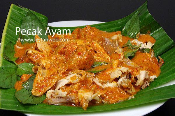 PECAK AYAM adalah sajian berupa ayam suwir berbumbu, berasal dari ujung barat kepulauan Nusantara tepatnya dari Propinsi Aceh. Paduan dari ayam panggang yang disuwir-suwir dengan siraman saus santan kental berbumbu plus taburan daun kemangi..hmmmm sedap menggoda ;-)