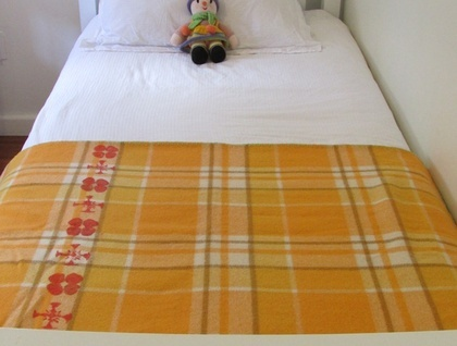 vintage 100% wool blanket - upcycled with poppy icon print.   www.felt.co.nz/shop/squanderer