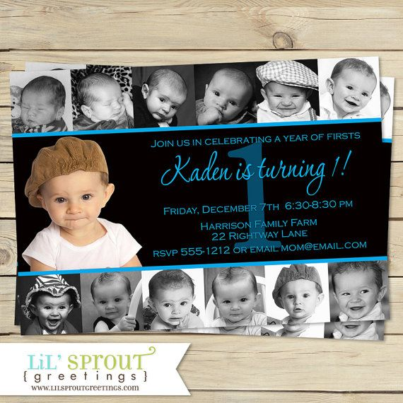 Boys Birthday Invitation 1st Year 12 Photo by lilsproutgreetings