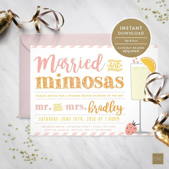 Married And Mimosas Wedding Brunch Invitation Instant Download Wedding Brunch Invitations Wedding Ceremony Invitations Wedding Brunch Reception