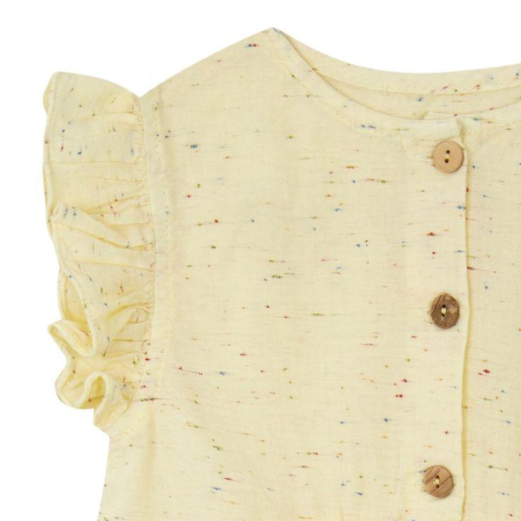 κιτρινη πουκαμισα με ξυλινα κουμπακια