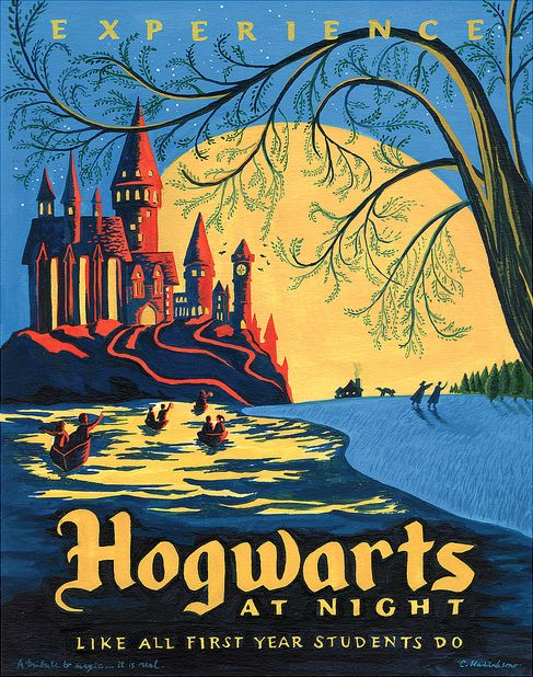 Or spend a night at the historical Hogwarts. | 19 Gorgeous Retro Travel Posters To Fantasy Destinations: