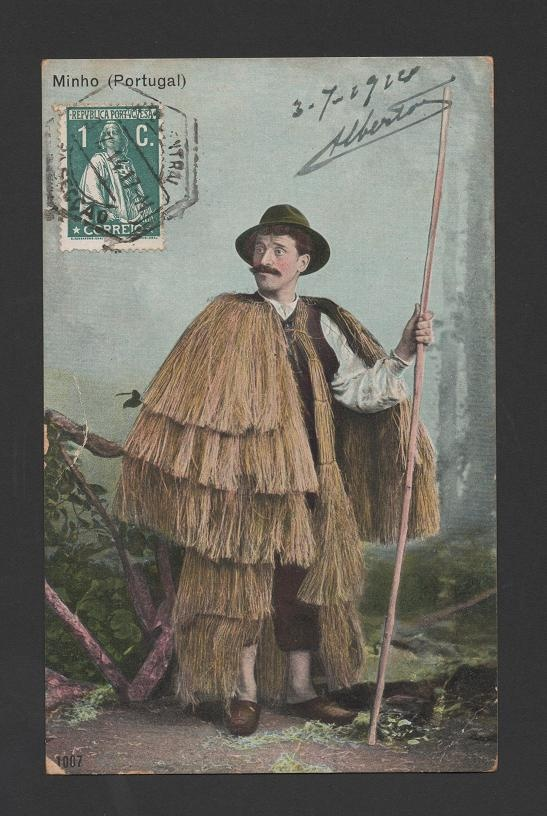 1914 PORTUGAL MINHO SHEPHERD  hemp raincoat?
