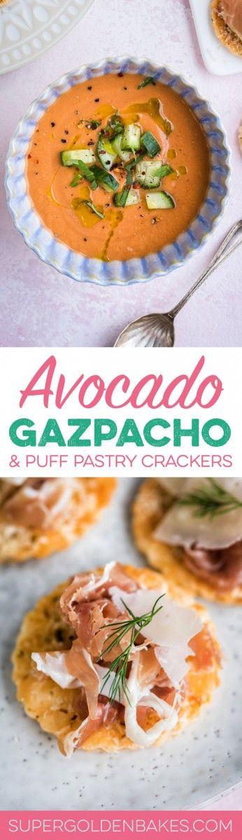 This summery take on Spanish gazpacho is gluten-free and made with avocado and watermelon – basically summer in a bowl! Serve with puff pastry crackers topped with Grana Padano and Prosciutto di San Daniele.