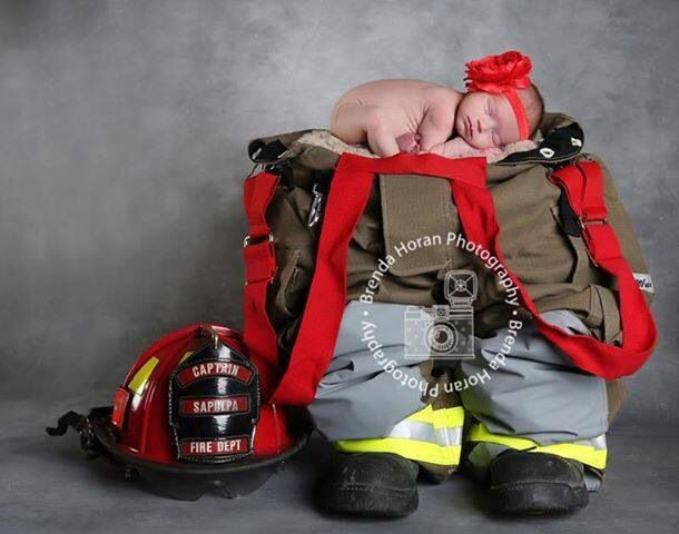 Firefighter baby photography idea