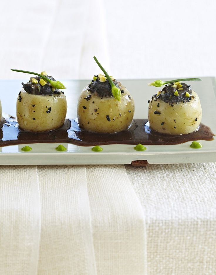 Escargots in Potato Cups w/ Black Truffles,Toasted Pistachios from Cooking without Borders