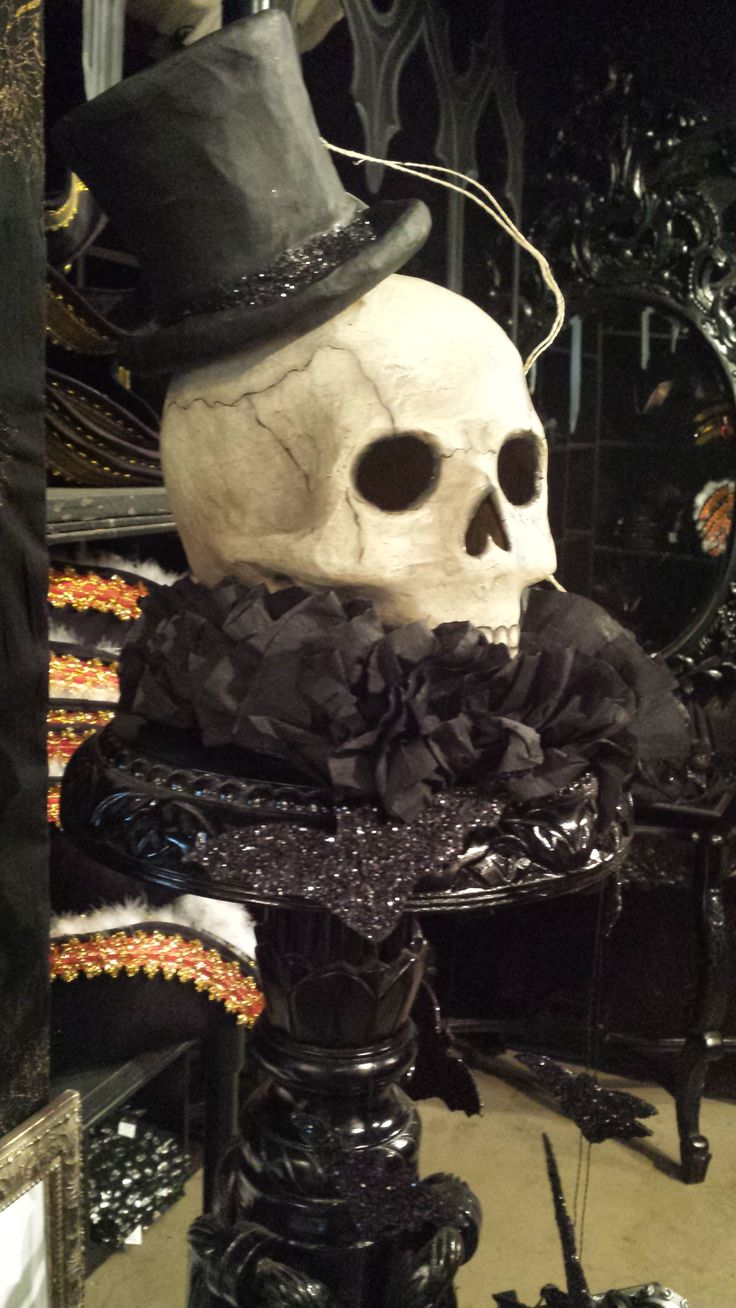 skull with a top hat for Halloween