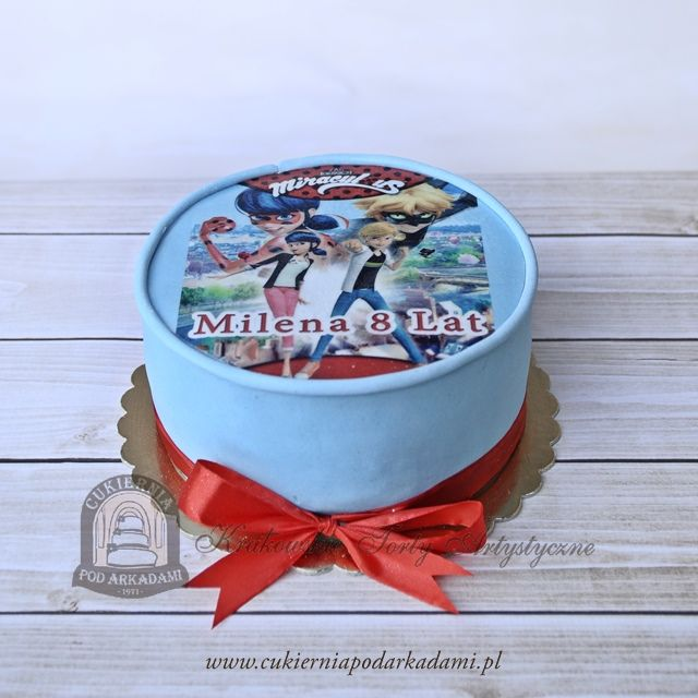 55BD. Foto tort Miraculum: Biedronka i Czarny Kot. Miraculous: Tales of Ladybug and Chat Noir – photo cake.