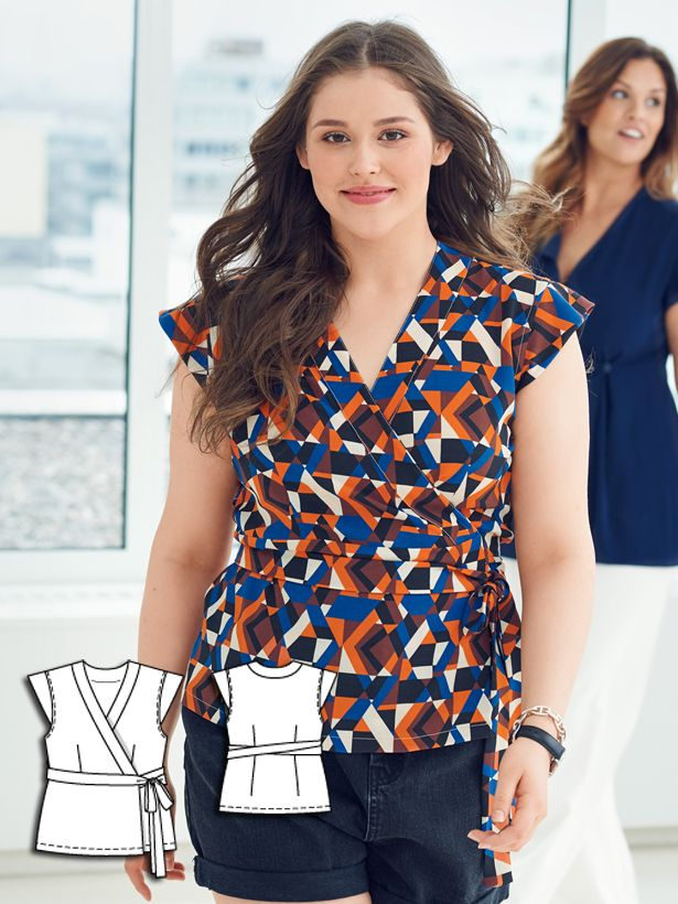 Wrap Blouse (Plus Size) 07/2016 #124 http://www.burdastyle.com/pattern_store/patterns/wrap-blouse-plus-size-072016?utm_source=burdastyle.com&utm_medium=referral&utm_campaign=bs-tta-bl-160616-MotherDaughterCollection124