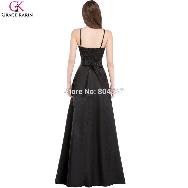 Spaghetti Strap Evening Party Dress Black Grace Karin Dresses Burgundy Red Black Evening Dresses Long 2016. Click visit to buy #EveningDress #Dress