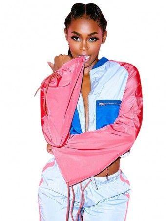 d1c57fc07d6b0a JurllyShe Drawstring Waist Color Block Crop Jacket And Shorts Two Piece Sets