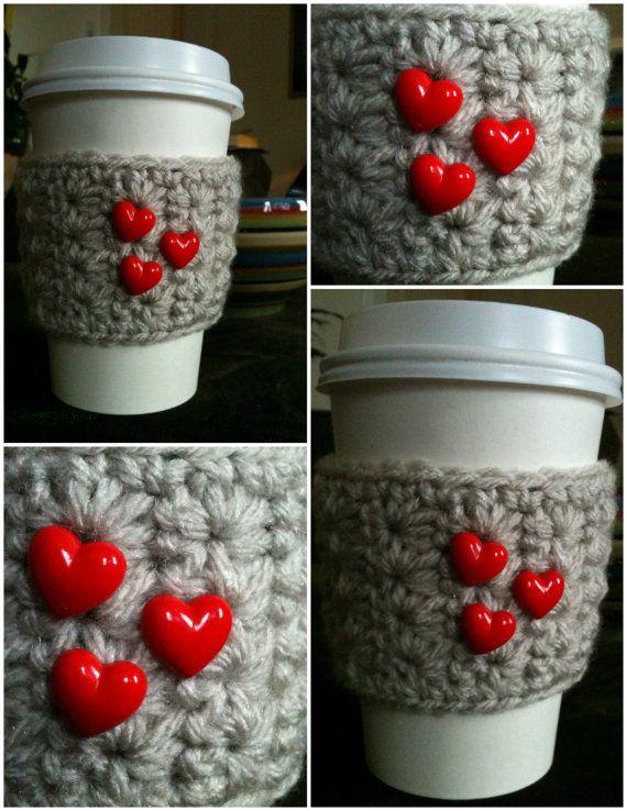 Crochet valentine cup cozy $8.00