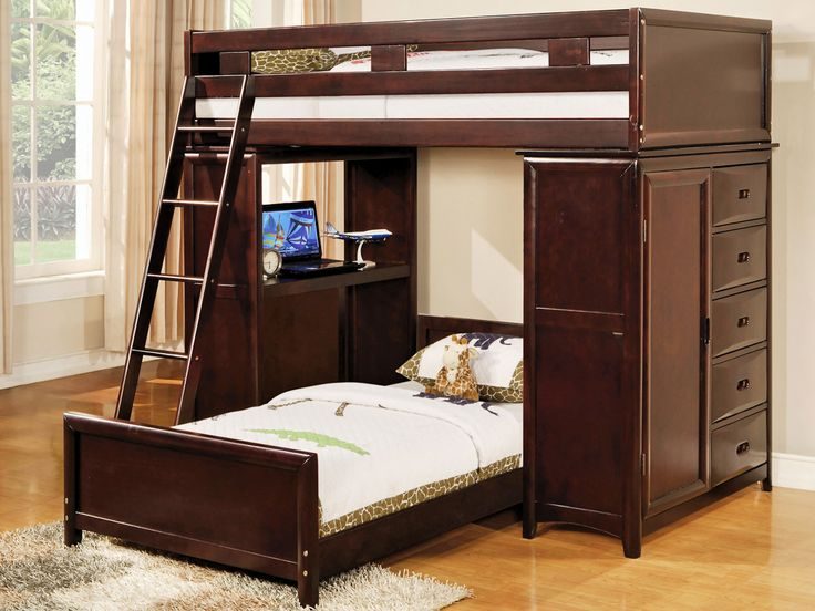 Rustic Bunk Bed Design For Teenage Girl with White Wall Paint Color and Wooden Floor also Dark Wood Cabinet Storage Drawers also Cream Curtains and Wooden Ladder Near Wood Platform Bed