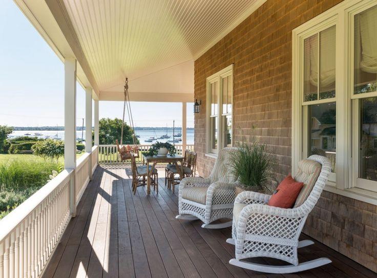 Exterior Porch Deck Summer Cottage Island Home New England Rhode Beachesoutdoor Tables