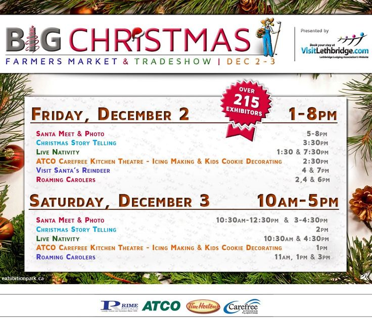 BIG Christmas Farmers Market & Tradeshow | December 2-3  Full event details: http://bit.ly/2eVBkrq  #yql #lethbridge #BIGXMAS #ItsAtTheEX  Thanks to our participating partners: Visitlethbridge.com Prime Rentals Ltd. ATCO Tim Hortons Carefree Kitchens & Lighting