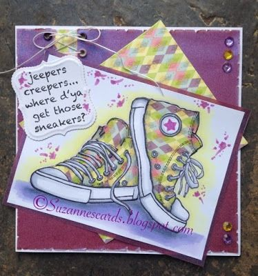 Woodware sneakers snap. card by me suzannescards.blogspot.com