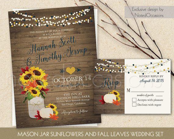 rustic fall wedding invitation printable set by notedoccasions fall wedding invitations with sunflowers in a - Rustic Fall Wedding Invitations