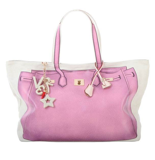 #V73 New Classic 05 #Pink #Bag #Shop online: https://www.v73.us/classic-icone/new-classic05 Concealed magnetic snap closure, PU printed pattern in both sides, Four internal patch pockets, Two internal zip pockets, Fully lined, Charm shown in photo included, Metal feet at the base, 100% COH: 35 cm W: 55 cm D:18 cm