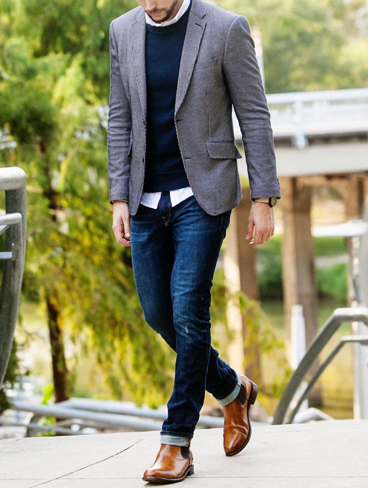 business casual herren jeans pullover blazer braune schuhe fashion style anziehsachen. Black Bedroom Furniture Sets. Home Design Ideas