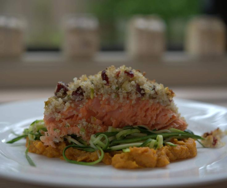Recipe Quinoa Crusted Salmon with Sweet Potato Mash and Zucchini Ribbons by foodieforever
