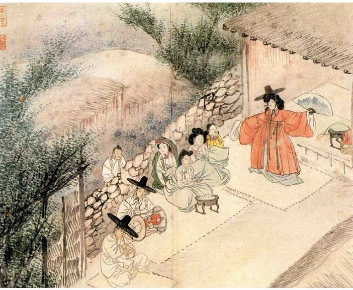 1805 painting of a shaman ritual, attributed to Sin Yunbok 신윤복 申潤福 (1758–?)