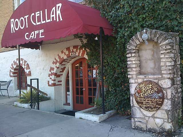 Root Cellar Cafe, San Marcos, Tx.   So tasty, has vegetarian options... My mom's fave place to go in SM.  hah.